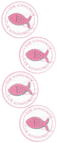 Sticker Kommunion Fischbutton berry