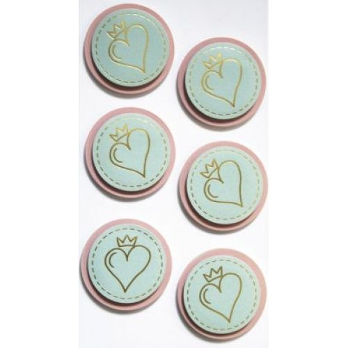 Sticker - heart with crown mint/rosa-
