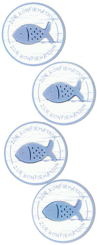 "Sticker ""Fishbutton blue"" zur Konfirmation"