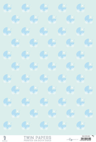 "Twin Paper Blätter DIN A4 ""Baby blue - Hello Baby, blue"""